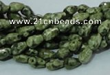 CPS62 15.5 inches 6*8mm faceted teardrop green peacock stone beads