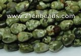 CPS63 15.5 inches 8*12mm faceted teardrop green peacock stone beads