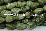 CPS64 15.5 inches 10*14mm faceted teardrop green peacock stone beads