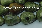 CPS65 15.5 inches 15*20mm faceted teardrop green peacock stone beads