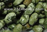 CPS67 15.5 inches 8*13mm faceted rice green peacock stone beads