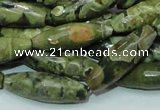 CPS70 15.5 inches 10*30mm faceted rice green peacock stone beads