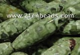CPS71 15.5 inches 12*40mm faceted rice green peacock stone beads