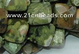 CPS74 15.5 inches 15*15mm faceted rhombic green peacock stone beads