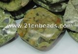 CPS77 15.5 inches 30*30mm faceted rhombic green peacock stone beads