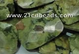 CPS82 15.5 inches 22*30mm faceted rectangle green peacock stone beads