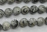 CPT104 15.5 inches 10mm round grey picture jasper beads