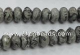 CPT120 15.5 inches 6*10mm faceted rondelle grey picture jasper beads