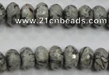 CPT121 15.5 inches 7*12mm faceted rondelle grey picture jasper beads