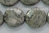 CPT126 15.5 inches 25mm faceted coin grey picture jasper beads