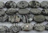 CPT143 15.5 inches 10*14mm faceted oval grey picture jasper beads