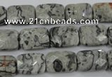 CPT152 15.5 inches 10*14mm faceted rectangle grey picture jasper beads
