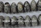 CPT160 15.5 inches 9*16mm rondelle grey picture jasper beads