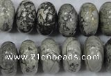 CPT161 15.5 inches 10*18mm rondelle grey picture jasper beads