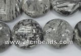 CPT167 15.5 inches 20mm flat round grey picture jasper beads
