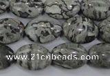 CPT171 15.5 inches 13*18mm oval grey picture jasper beads