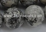 CPT191 15.5 inches 16mm round grey picture jasper beads wholesale