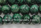 CPT207 15.5 inches 12mm round green picture jasper beads
