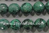 CPT217 15.5 inches 14mm faceted round green picture jasper beads