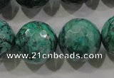 CPT220 15.5 inches 20mm faceted round green picture jasper beads