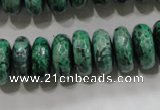 CPT224 15.5 inches 7*15mm faceted rondelle green picture jasper beads