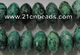 CPT225 15.5 inches 9*16mm faceted rondelle green picture jasper beads