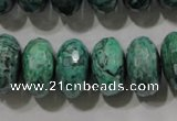 CPT226 15.5 inches 10*18mm faceted rondelle green picture jasper beads