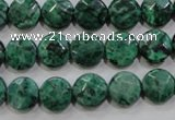 CPT231 15.5 inches 10mm faceted coin green picture jasper beads