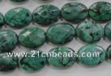 CPT237 15.5 inches 10*14mm faceted oval green picture jasper beads
