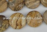 CPT258 15.5 inches 18mm flat round picture jasper beads wholesale