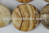 CPT260 15.5 inches 30mm flat round picture jasper beads wholesale