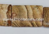 CPT265 15.5 inches 25*35mm flat tube picture jasper beads wholesale