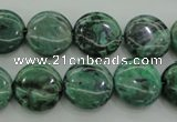 CPT328 15.5 inches 14mm flat round green picture jasper beads