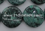 CPT332 15.5 inches 25mm flat round green picture jasper beads
