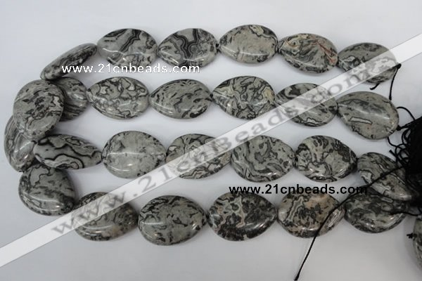 CPT358 15.5 inches 22*30mm flat teardrop grey picture jasper beads