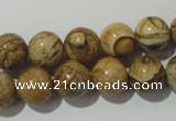 CPT454 15.5 inches 12mm round picture jasper beads wholesale