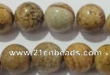 CPT457 15.5 inches 18mm round picture jasper beads wholesale