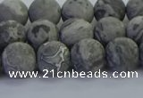 CPT572 15.5 inches 8mm round matte grey picture jasper beads
