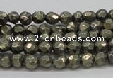 CPY04 16 inches 6mm faceted round pyrite gemstone beads wholesale