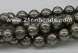 CPY06 16 inches 8mm round pyrite gemstone beads wholesale