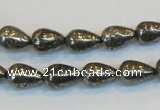 CPY132 15.5 inches 8*12mm teardrop pyrite gemstone beads wholesale