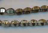 CPY142 15.5 inches 8*10mm rice pyrite gemstone beads wholesale