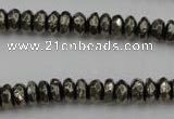CPY215 15.5 inches 4*8mm faceted rondelle pyrite gemstone beads