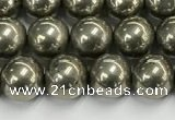 CPY261 15.5 inches 6mm round pyrite gemstone beads wholesale