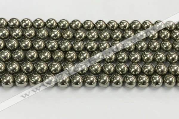 CPY262 15.5 inches 8mm round pyrite gemstone beads wholesale