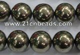 CPY27 16 inches 18mm round pyrite gemstone beads wholesale