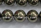 CPY28 16 inches 20mm round pyrite gemstone beads wholesale