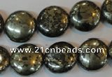 CPY303 15.5 inches 16mm flat round pyrite gemstone beads wholesale