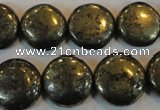 CPY304 15.5 inches 18mm flat round pyrite gemstone beads wholesale