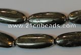 CPY311 15.5 inches 10*25mm oval pyrite gemstone beads wholesale